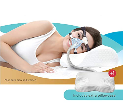 CPAP DreamGuard, Contour Design Memory Foam Pillow, Free 1x Pillow Case, Designed for CPAP, BiPAP,APAP Mask Users to Reduce Face Mask Pressure & Air Leaks - Head & Neck Support for Maximum Comfort