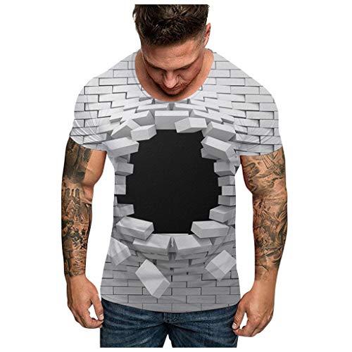 Luotuo T Shirt Herren O-Neck Kurzarm Oberteile Basic Shirts mit Tropfenprint, Frühling und Sommer Männer Moderne Baumwoll Casual Tops Kurzarmshirt mit Rundhalsausschnitt