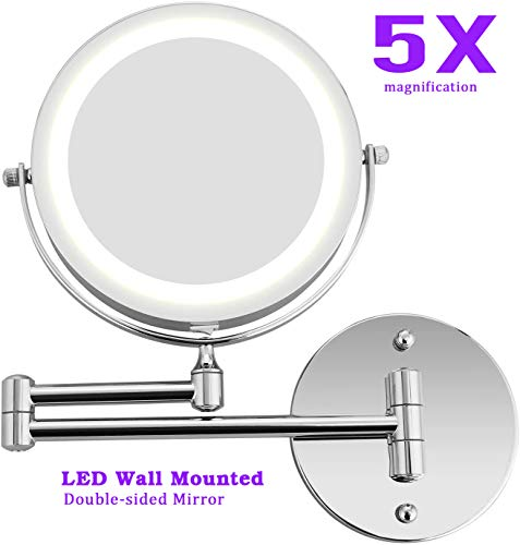 LED Lighted Wall Mounted Mirror Double Sided Swivel Vanity Makeup Mirror - -