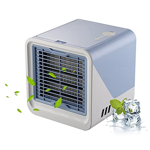 Tragbare Anion Klimaanlage Mini Kühler Luftbefeuchter USB Wiederaufladbare 3 Geschwindigkeitswind mit abgeschirmtem Nachtlicht dauerhafter Gebrauch für Haus / Büro / Outdoor ( Farbe : Blue )