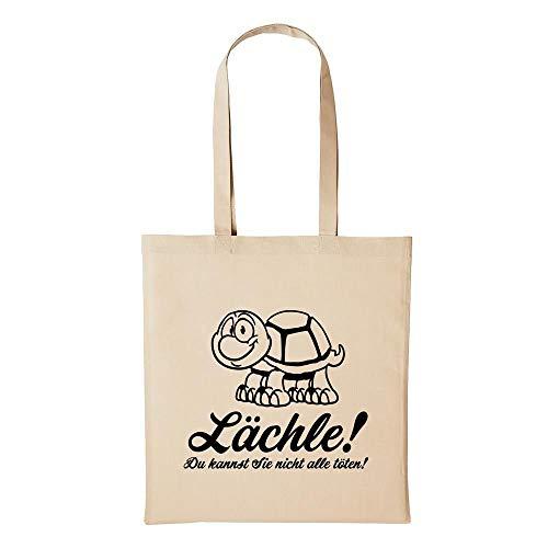 Hellweg Druckerei Jutebeutel Lächle! Du Kannst sie Nicht alle töten! Geschenk-Idee für Damen und Herren Tasche Baumwolle für Freunde und Familie