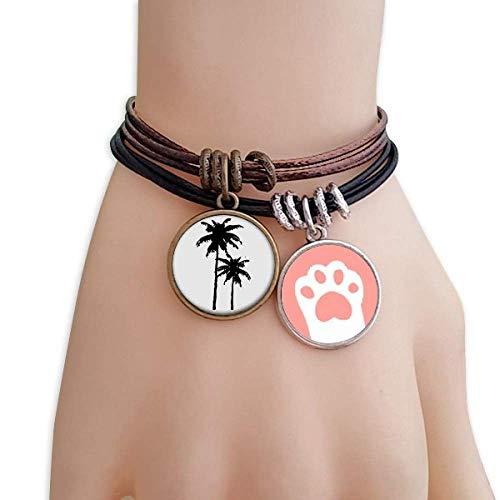 DIYthinker Damen Coconut Tree Silhouette Pflanze Strand Katzen-Armband-Leder-Seil-Armband Paar Sets