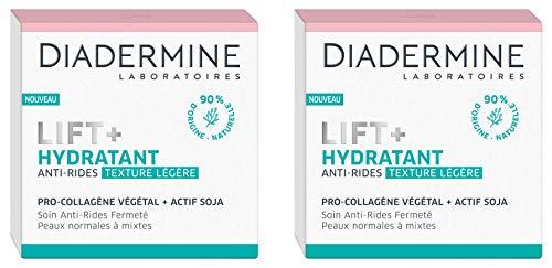 Diadermine - Lift+ Creme Hydratante - Anti Rides Texture Legere - Soin Fermeté - Pro-Collagène et actif Soja - Peaux normales à mixtes - 90% d'ingrédients d'origine naturelle - Pot de 50 ml - Lot de 2