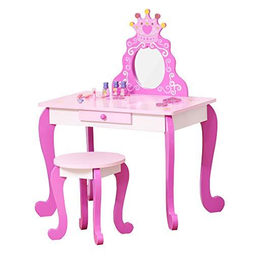 HOMCOM Coiffeuse Enfant Design Princesse - Tabouret Inclus - dim. 70L x 40l x 91H cm - tiroir, Miroir - MDF - Rose