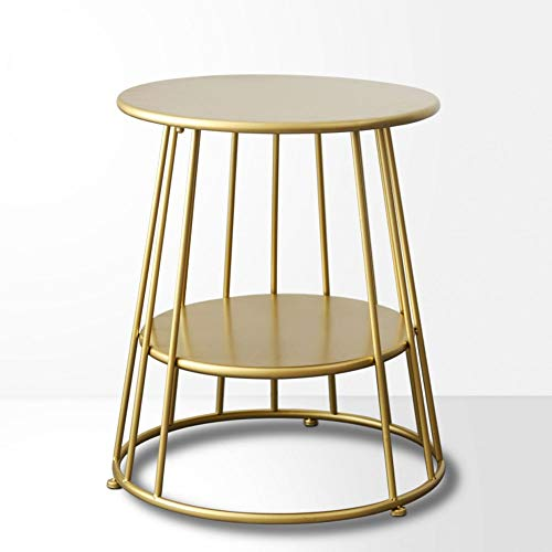 DIAOD Simple modern wrought iron gold side coffee table Nordic small table coffee table creative round corner several bedside table