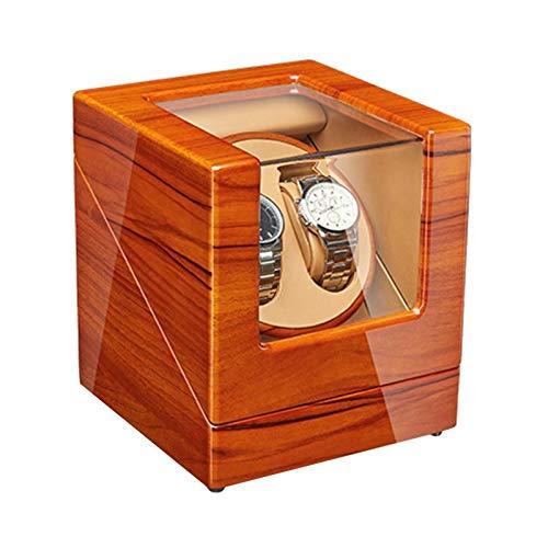 QCSMegy Enrollador automático de Relojes de Madera de Manzana Caja enrolladora de Relojes Pintura de Piano Adaptador de Motor silencioso Exterior y Accesorios a batería (Tamaño: 2 + 0)