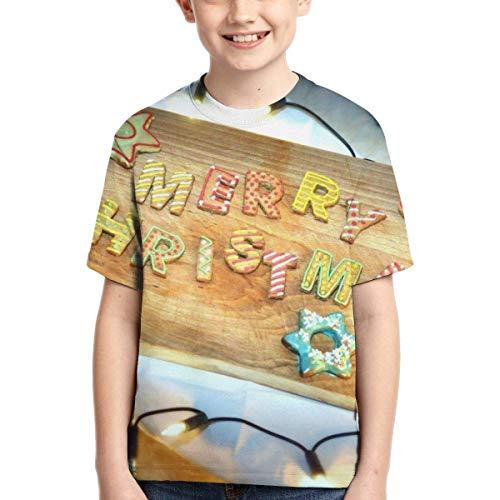huatongxin Christmas Cookies On A Chopping Board Kinder 3D Druck T-Shirts Kurzarm Tee Sport Baseball Shirt für Jungen Gr. XS, Siehe Abbildung