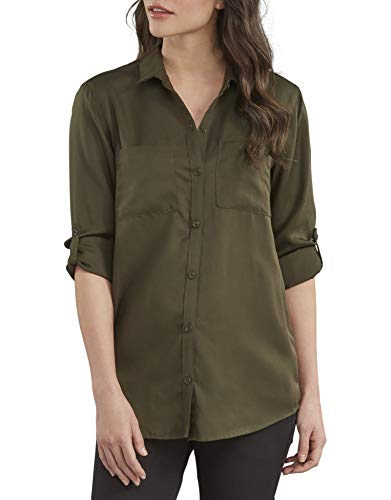 Dickies Women's Long Sleeve Lyocell Button Up Shirt, Rinsed Tactical Green, Small