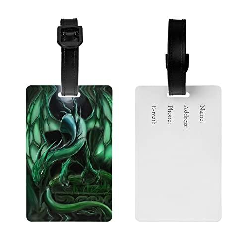 MGCEDLTD Etiqueta del equipaje del dragón de la selva, etiqueta del nombre de la maleta de la bolsa de viaje con la correa desmontable
