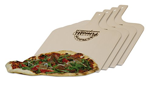 Pimotti Pizzaschaufel/Brotschaufel/Flammkuchenbrett aus naturbelassenem Sperrholz für Pizzastein (4er Set)