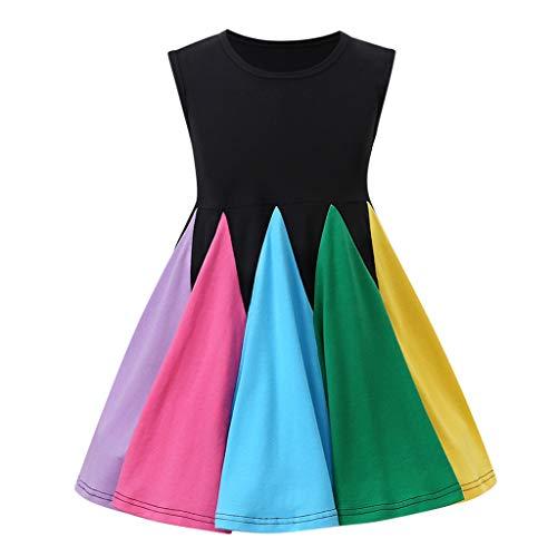 sunnymi Juego de ropa de verano para bebé niña, 1 – 5 años, niños pequeños y niñas, sin mangas, arco iris, vestido de cumpleaños Negro  4-5 Años