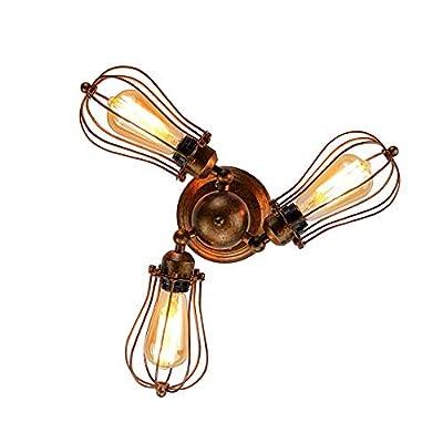 Longwind Industrial Vintage Ceiling Light?3 Light Rotatable Semi-Flush Mount Wall Light?Rustic Cage Metal Lamp Fixture