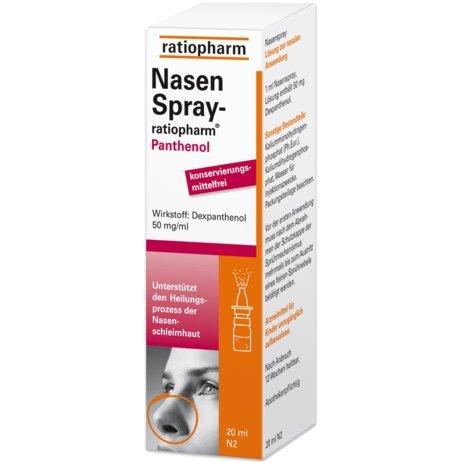Ratiopharm nasenspray Panthenol unterstützt den Heilungsprozess der Nasenschleimhaut, ohne Konservierungsstoffe, Spar-Set 5x10ml