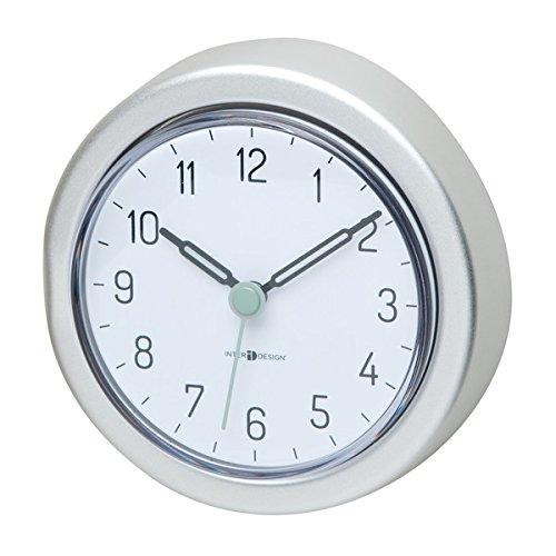 mDesign Badezimmer Uhr mit Saugnapf - wasserfeste Duschuhr zum einfachen Befestigen an Duschwand oder Fliesen - praktisches Duschzubehör aus Aluminium