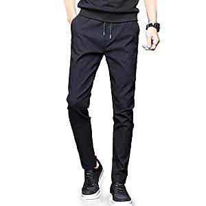 NEWHEY チノパン メンズ スキニーパンツ スーパーストレッチ スウェットズボン 細身デザイン 大きいサイズ 春 夏 ブラック 31-L