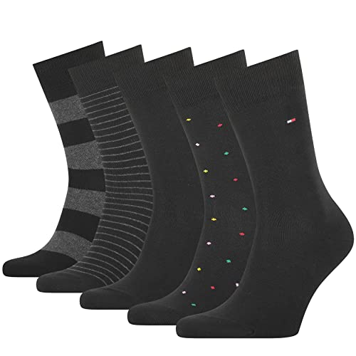 Tommy Hilfiger Mens Stripe and Dot Men's Tin Gift Box Classic Sock, Black, 43/46