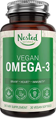 Vegan Omega 3 DHA & EPA Supplement | Plant Based Omega-3 Fatty Acids with Algae Oil | More Absorbable, Improved Formula | Supports Heart, Brain, Joint Health | Fish Oil Alternative - No Fishy Burps