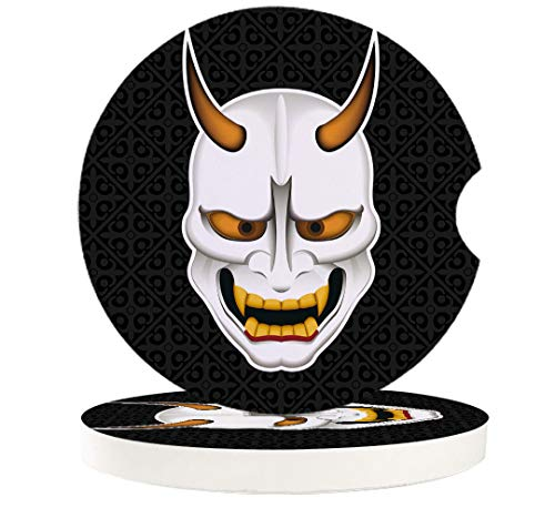 Halloween 6 Pack Car Coasters for Drinks Absorbent Car Cup Holder Stones Ceramic Car Cup Holder Coaster with Fingertip Grip Japanese Style Hannya Demon Beast
