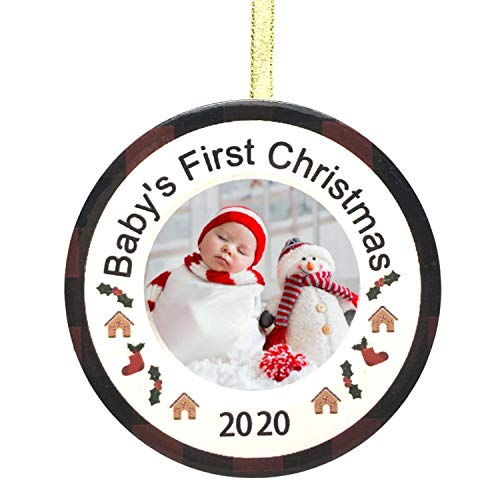 BANBERRY DESIGNS Baby's First Christmas 2020 Ornament - Dated Photo Picture Ornament with Red and Black Checkered Border and Holly - New Baby Keepsake Ornaments Newborn Babies