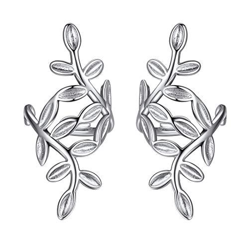 ChicSilver 925 Sterling Silver Minimalist Small Hoop Huggie Earrings Classic Leaf Ear Cuffs for Non Pierced Ears Cartilage Clip On Wrap EarringsHypoallergenic