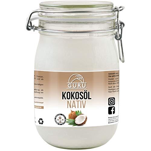 Guru Kokosöl nativ und naturrein -Bio Qualität- 1. Kaltpressung - Rohkost - Vegan - Bio-Kokosfett (Bügelglas, 1000ml)