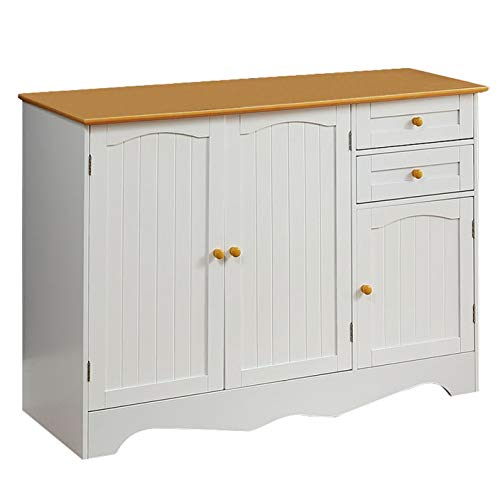 """Function Home Kitchen Buffet Cabinet Sideboard Kitchen Island Buffet Table Buffet Server Home Furniture3 Drawers and 3 Cabinets for Additional Storage Space in White 43.7"""" Wx15.75 Dx31.5 H"""