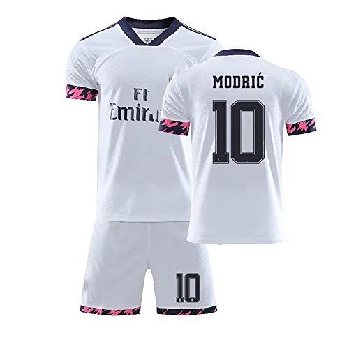 Premium Fußball Uniformen für Kinder, Benzema Nr. 9 Modric Nr. 10 Ramos Nr. 4 Jungen Fußball Trikot Fan Shirts, Kinder Fußball Kurzarm + Shorts-10-18