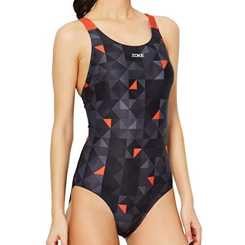 Karrack Women's One Piece Swimsuit Sleeveless Swimwear Swimming Suit Sport Pro Bathing Suit (S(Bust34''-35'')) Gray