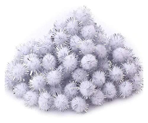 XIAOGING Mini Leggero colorato Fai da Te Fatti Sparkle Glitter Poms Balls for la Decorazione Domestica di Natale Decorazioni Arti del mestiere (Colore : Gray)