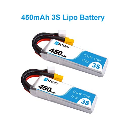 BETAFPV 2PCS 450mAh 3S Lipo Battery 75C/150C 11.1V with XT30 16AWG Silicone Wire for Beta85X Cinewhoop FPV Racing Drone