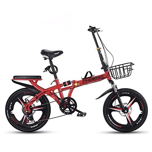 gxj Bicicleta Plegable Ligera 7, Frenos De Disco Dual Y Doble Suspensión Bici Plegable, 3 Ruedas De Radios para Hombres Mujeres Y Adolescentes, Rojo(Size:16 Inch)