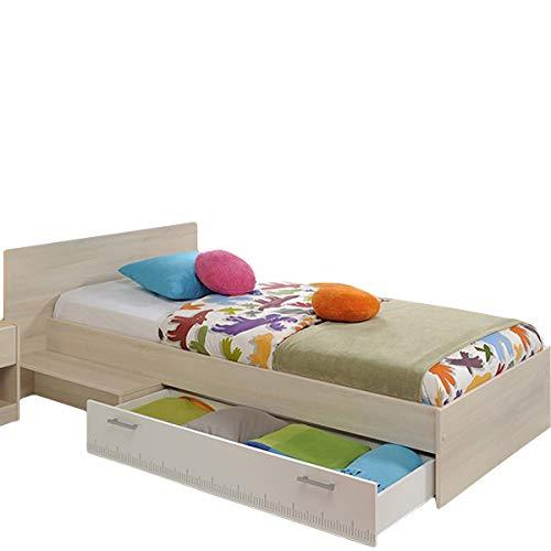 Jugendbett 90 * 200 cm inkl Bettkasten akazie grau/weiß Jugendliege Kinderbett Bettliege Bett Bettgestell Jugendzimmer Kinderzimmer