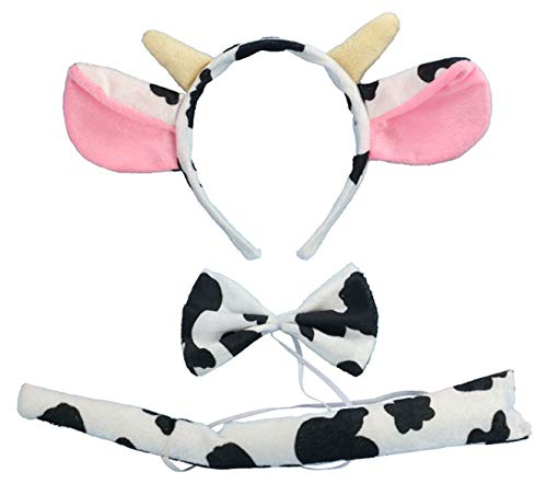 Kinzd Kids Mouse Dalmatian Antlers Wolf Tiger Party Halloween Christmas Costume (Milk cow)