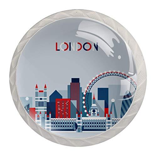 4 tiradores redondos de cristal transparente con tornillos para cocina, aparador, armario, baño, armario, autobús de la bandera británica de Londres