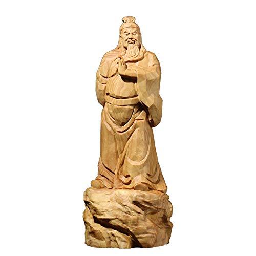 XIANGE100-SHOP Estatua Boxwood Tallado artesanía Adornos decoración del hogar Estatua de Madera Dios Chino de la Riqueza Guan Gong Estatua Guan Yu Escultura Inicio D Regalos Chinos