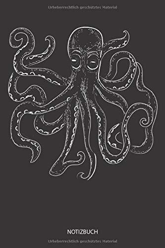 Notizbuch: Kraken Bild Illustration - Liniertes leeres Tintenfisch Notizbuch. Lustiges Tintenfisch Bild, Urlaub, Strand und Meer Design. Oktopus & Kraken Geschenk für Damen, Herren & Kinder.