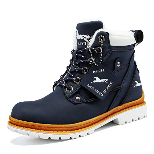 VITUOFLY Boys Hiking Boots Kids Warm Winter Snow Boots Girls Hiking Shoes Outdoor Adventure Trekking Shoes Anti-Skid Sneakers Blue Size 5