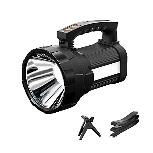 Rechargeable Spotlight, Super Bright 6000Lumen Handheld Flashlight with Foldable Tripod, 10000mAh Spot Light with USB Power Bank, 6 Modes IP44 Searchlight for Fishing Hiking with Shoulder Strap