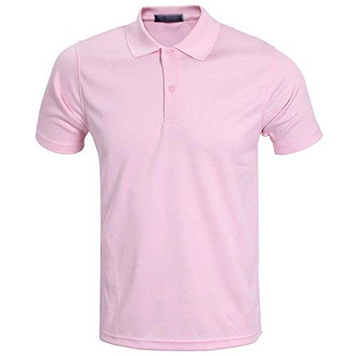 Demarkt poloshirt voor heren, poloshirt, polohemd, korte mouwen, polyester, roze, XXXL