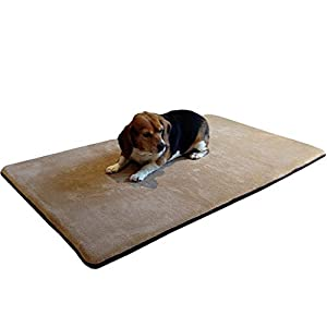 Dogbed4less Gel-Infused Memory Foam Pet Dog Bed Mat for Large Dogs with Waterproof Anti Slip Bottom – XXL Large 54″X37″ Crate Size