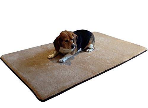 Dogbed4less Gel-Infused Large Memory Foam Fleece Pet Dog Bed Mat Pillow Topper with Waterproof Rubber Anti Slip Bottom - Fit 42'X28' Crate, Beige