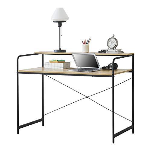 [en.casa] Escritorio con Estante 92 x 120 x 60 cm Escritorio de Oficina con Estructura de Metal Mesa de Trabajo Negro y Color Roble