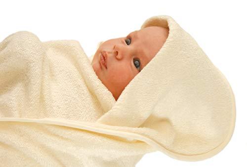 Serviette de Bain Green Bear de lux en Fibres de Bambou pour bébé/Jeune Enfant avec Capuchon – Couleur Rose (0-1 Ans Environ) – Fabriqué au Royaume-Uni
