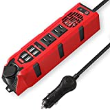 200W Car Power Inverter DC 12V to 110V AC Converter with Dual AC Outlets, 4 Quick Charger 2.4A USB Ports and 1 Type C Port Cigarette Lighter Socket Charger Adapter
