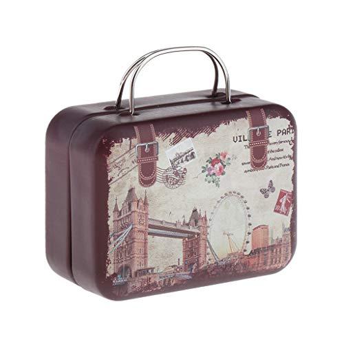 Mini Maleta para Casa de Muñecas, Dollhouse Equipaje de Viaje para Muñecas de 1/6 BJD 7.2x5.7x3.5cm - marrón