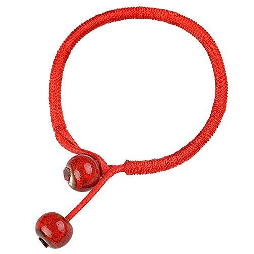 PinzhiFrauen Männer Einfache Hand Geflochtene Lucky Rot String Seil Schnur Armband Armreif (Rot)