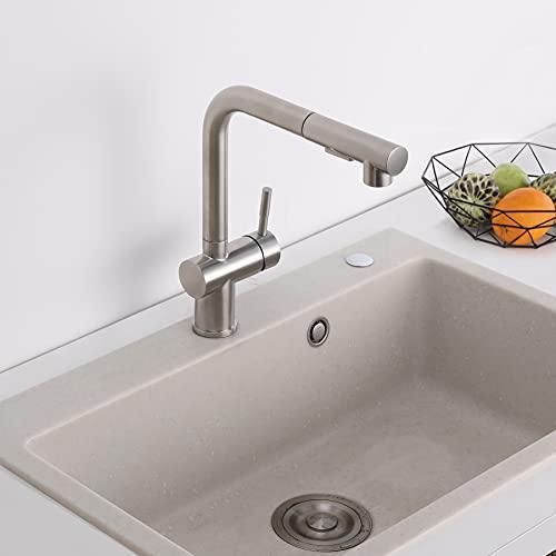 Lonheo Küchenarmatur Ausziehbar Wasserhahn Küche Edelstahl 360° Drehbar Mischbatterie Küche hoher Komfort-Auslauf Einhand-Spültischarmatur mit Brause 2 Strahlarten