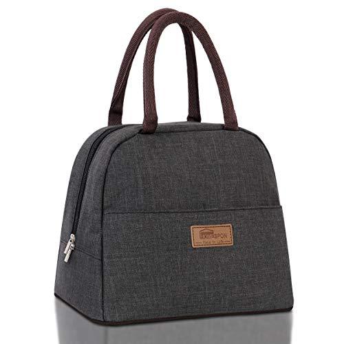 HOMESPON Isolierte Lunch Tasche Cool Bag für Lunch Boxes Gestreiftes Wasserdichtes Gewebe Faltbare Picknick-Handtasche für Frauen, Erwachsene, Studenten und Kinder (Standard-rein Grau)