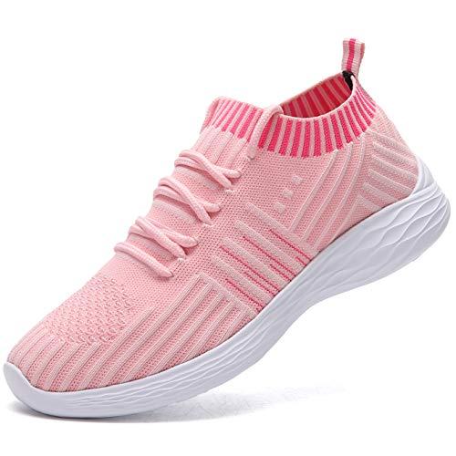 Nasonberg Schuhe Sneaker Damen Herren Leichte Laufschuhe Turnschuhe Atmungsaktive Sportschuhe(Rosa,38EU)