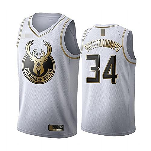 LYY Jerseys De Baloncesto para Hombre, NBA Milwaukee Bucks # 34 Giannis Antetokounmpo - Chaleco Transpirable Clásico Comfort Camiseta Sin Mangas Uniformes Tops,Blanco,M(170~175CM)